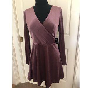 Express velvet wrap dress